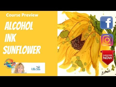 Alcohol Ink Art Tutorial Flowers Sunflower and Lilac Painting