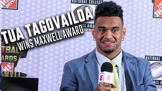 Tua Tagovailoa wins Maxwell award, speaks to media