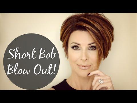 Short Bob Blow Out For Sleek Volume!