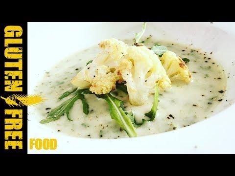 Creamy arugula cauliflower soup - gluten free recipe