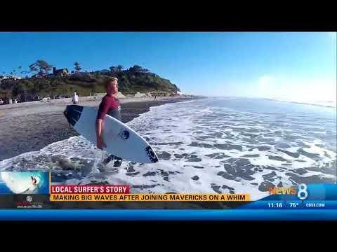 CBS 8 Features Hunter Lysaught Surfing 20-Foot Wave on Legendary Mavericks Opening Day