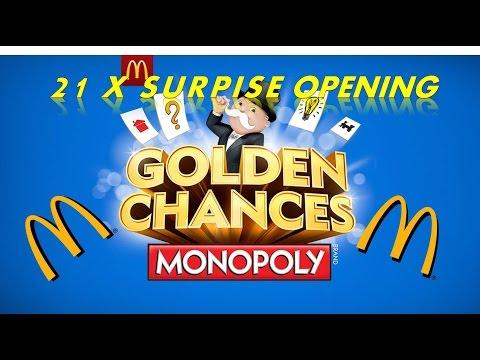 McDONALD'S MONOPOLY GOLDEN CHANCES 2015 21 x SURPRISE TICKET OPENING BLOW OUT