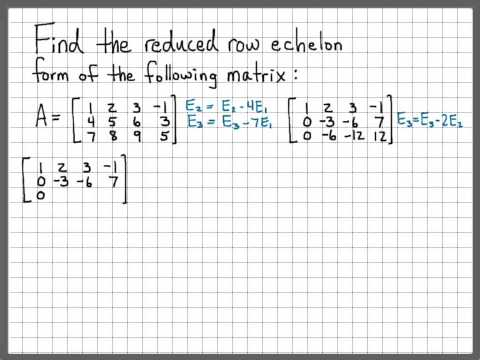 Linear Algebra Example Problems - Reduced Row Echelon Form