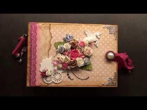 scrapbook mini album vintage baby girl