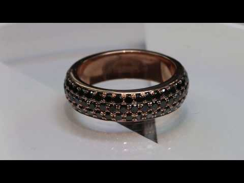 rose gold and black diamonds eternity wedding ring