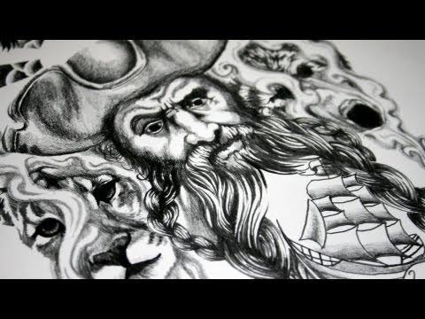 Pirate Tattoo Design - Speed Drawing