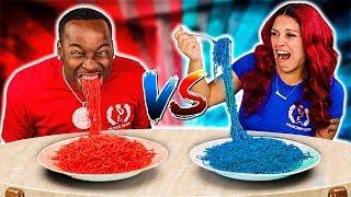 RED FOOD VS BLUE FOOD CHALLENGE