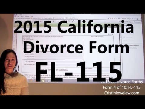 Filing California Divorce Forms: Form 4 of 10 the FL-115