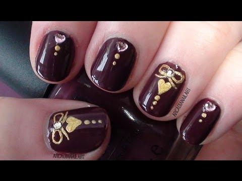 Heart & Bow Charm Nails, Elegant Prom/Holiday Nail Art!