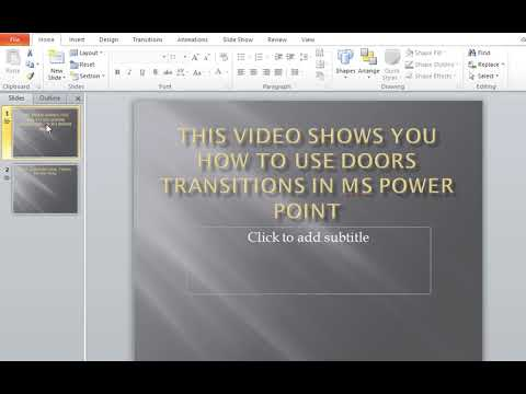 How to use Doors Transitions in MS Power Point