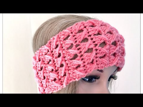 Easy twisted lace Irish crochet stitch for headband scarf and mittens all in 1 video - tutorial no.1