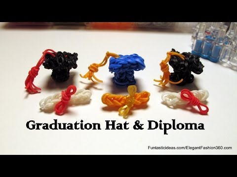 Pencil Toppers 3D Graduation Hat and Diploma charms- How to Rainbow Loom -School Series