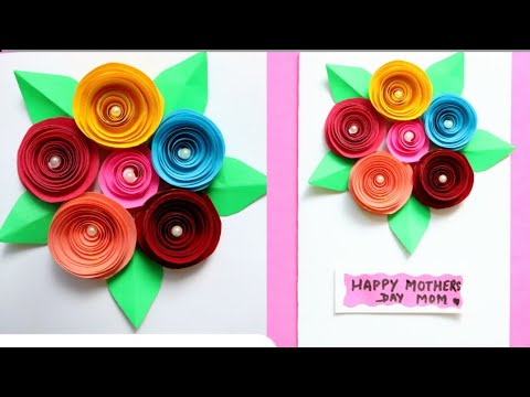 DIY Bouquet Card|Making Mothers day greeting card with paper flowers|Paper rose/Making paper rose
