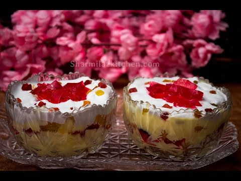 Trifle Pudding - Easy & Quick Christmas Dessert Recipe - Pudding With Leftover Cake, Custard & Jelly
