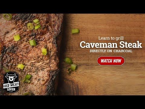 Grilled Strip Steaks Recipe - CAVEMAN STEAK!