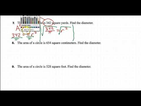 Day 01 HW #07 - How do we find the diameter of a circle given the area?