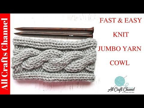How to knit Jumbo Yarn Cowl with Cable design - step-by-step knitting tutorial
