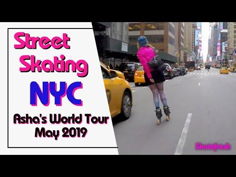 Asha fast street skating into Times Square May 2016
