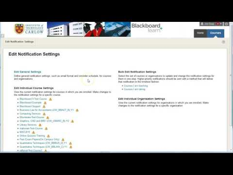 Edit your Notifications Settings in Blackboard