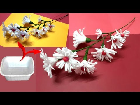 How To Make Flower stick From Waste Thermocol bowl at home |making flower bunches |Best out of waste