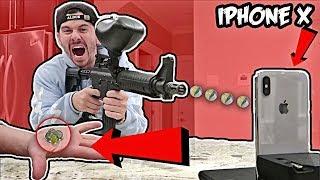 DIY GLASS PAINTBALLS VS. iPhone X EXPERIMENT!! (1000+ MPH)
