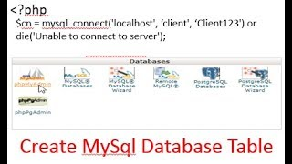 create mysql table using php