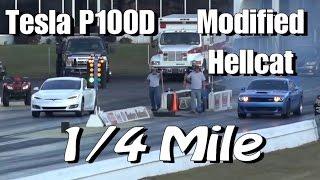 Tesla P100D Hunts Down Modified Hellcat Challenger 1/4 Mile Drag Race!