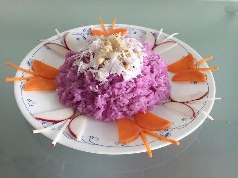Xôi lá cẩm | Vietnamese magenta leaves sticky rice