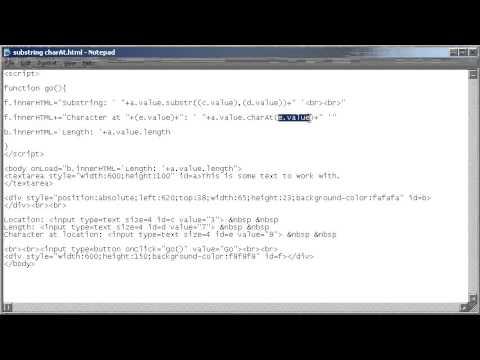 Html + Javascript; Substring + CharAt