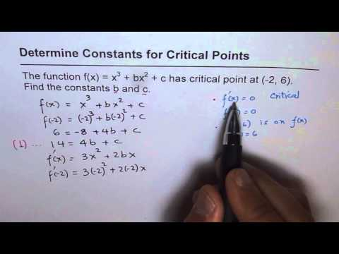 21 Find Constants for Critical Point on Cubic Function