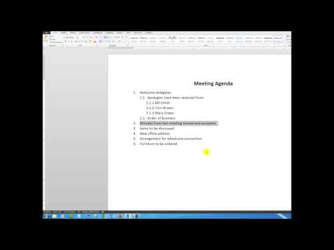 Create a professional meeting agenda using multi-level list bullet points
