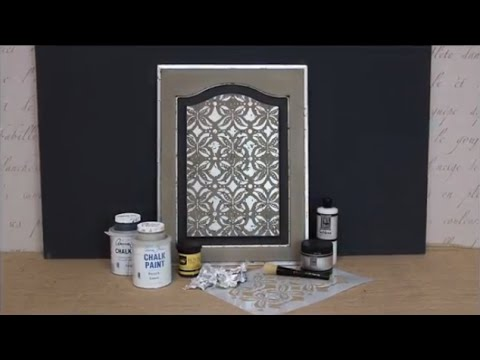How to Stencil Tutorial: Distressed Silver Leaf & Chalk Paint Cabinet Door