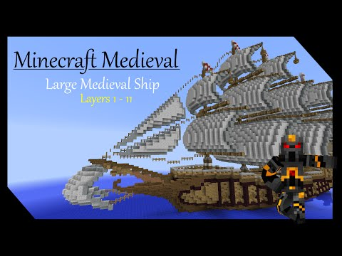 Minecraft Medieval Builds - Large Ship Tutorial - Part 1 of 7 - How to Build a Medieval Ship