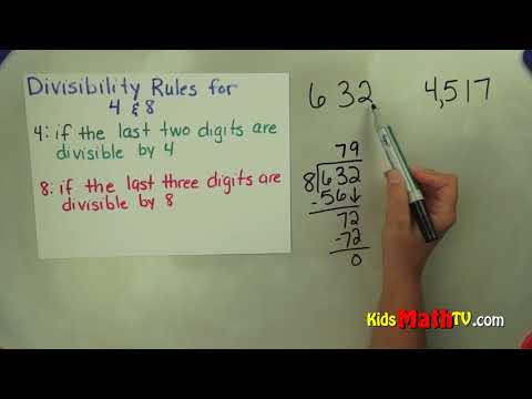 Divisibility rules for dividing numbers by 4 and 8 video tutorial