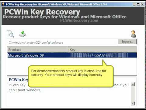 Microsoft Product Key Recovery from crashed/ un-bootable windows