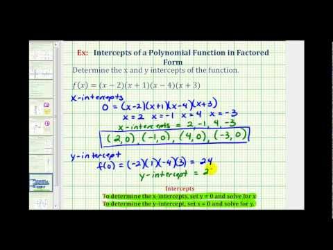 Ex:  Find the Intercepts of a Polynomial Function in Factored Form