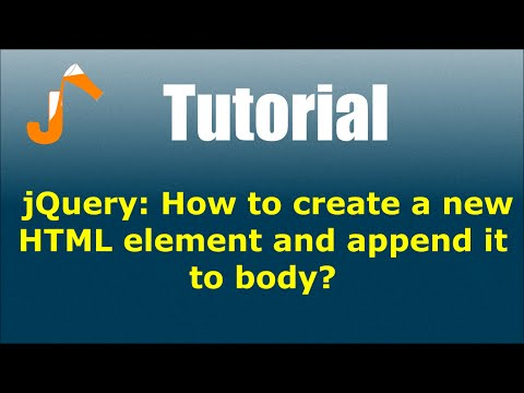 jQuery: How to create a new HTML element and append it to body?