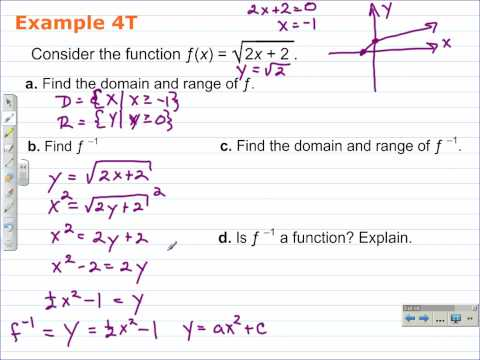 Find the Domain of a Function and Its Inverse | Algebra 2 Video