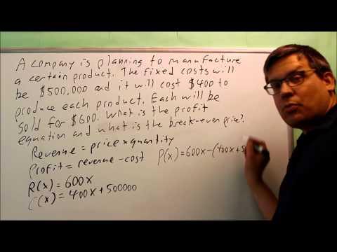 Profit, Revenue, Cost Linear Function Word Problem