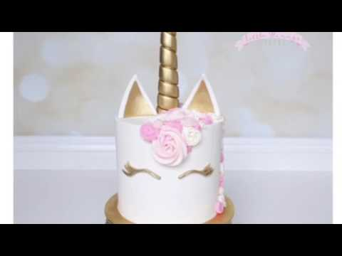 Unicorn cake with buttercream, fondant, gold accents