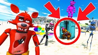 NIGHTMARE FREDBEAR CAUGHT POOPING IN PUBLIC! (GTA 5 Mods For Kids FNAF Funny Moments)