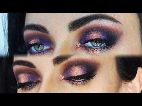 New Year's Eve Purple and Sparkly Peach Halo Eye Makeup Tutorial | MakeupAndArtFreak