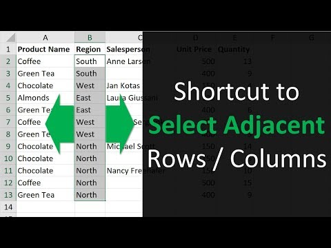 Excel Shortcut to Select Rows or Columns with Blanks Cells by Moving Selection
