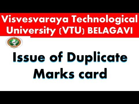 VTU  NEWS # 05  : ISSUE OF DUPLICATE MARKS CARD
