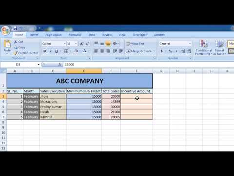 How To Calculate Incentive for Sales Executive in Excel Sheet (English Voice)