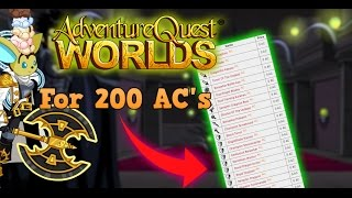 =AQW=How To Get 43 Items For 200 AC