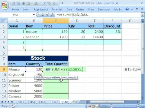 Excel Magic Trick 348: Formula for Unit Inventory Total SUMIF function Trick