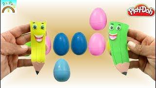 Play Doh color creations (Cute three color pencils) for kids