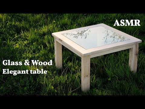 Simple Wood&Glass coffe table made in the fresh, spring relaxing backyard (ASMR)