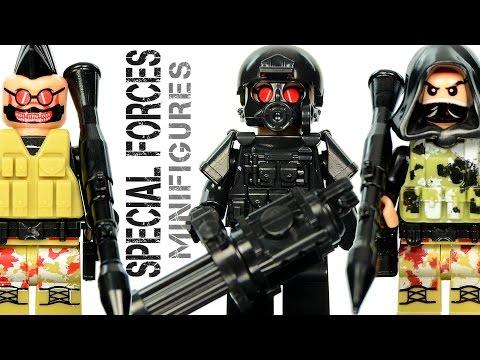 Special Forces Tactical Assault Team Unofficial LEGO Minifigures w/ Sniper & Gunner Building Blocks